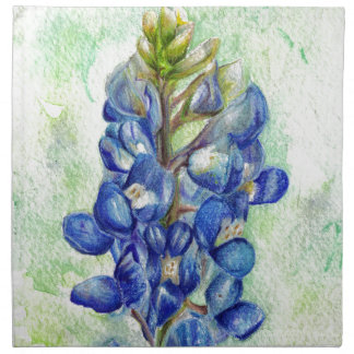 Texas Bluebonnet Wildflower Drawing Napkin
