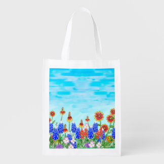 Texas bluebonnet wildflowers reusable grocery tote
