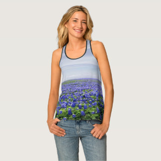 Texas Bluebonnets and Blue Sky Print Tank Top