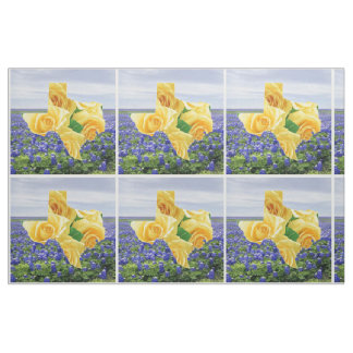 Texas Bluebonnets And Yellow Rose Fabric
