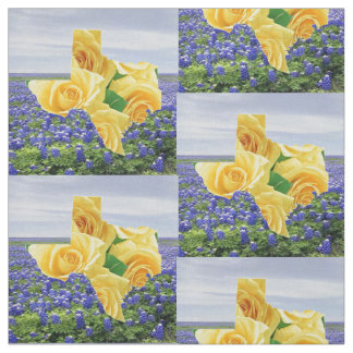 Texas Bluebonnets And Yellow Rose Fabric 4.5""