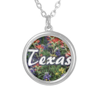 Texas Bluebonnets Paintbrushes Silver Plated Necklace