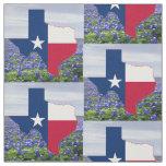 "Texas Bluebonnets Texas Shape Flag  Fabric 4.5"""