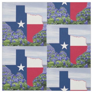 Texas Bluebonnets Texas Shape Flag  Fabric 4.5""