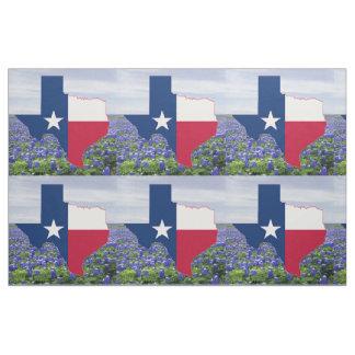"Texas Bluebonnets Texas Shape Flag  Fabric 9"""