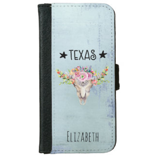 Texas Boho Cow Skull With Flowers Chic Trendy iPhone 6 Wallet Case