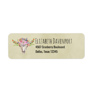 Texas Boho Cow Skull With Flowers Chic Trendy Return Address Label