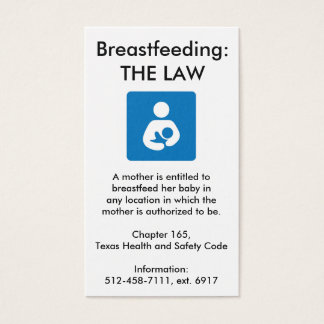 Texas Breastfeeding Law - 2 Business Card