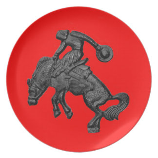 Texas Bucking Horse Cowboy .jpg Plate