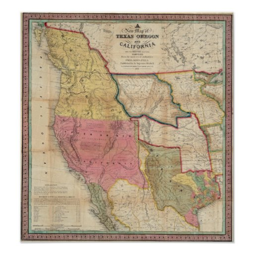Texas California and Oregon Poster