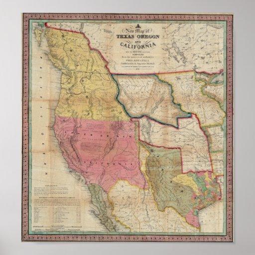 Texas California and Oregon Print