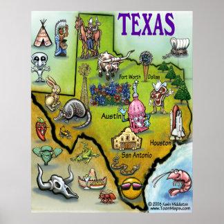 Texas Cartoon Map Poster