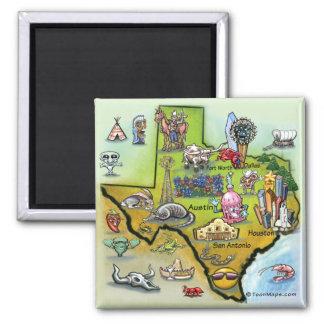 Texas Cartoon Map Square Magnet