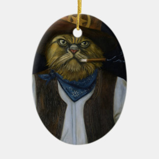Texas Cat with an Attitude Ceramic Oval Ornament