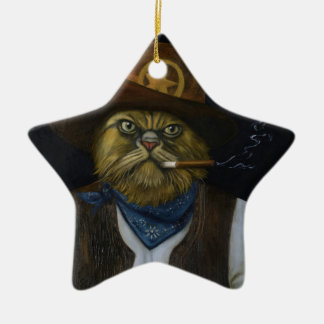 Texas Cat with an Attitude Ceramic Star Ornament