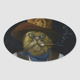 Texas Cat with an Attitude Oval Sticker
