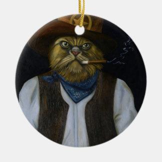 Texas Cat with an Attitude Round Ceramic Ornament