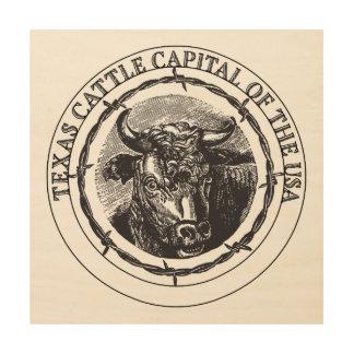 Texas Cattle wood wall print