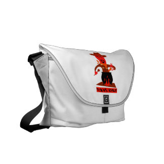 Texas chili cartoon man cooking courier bag