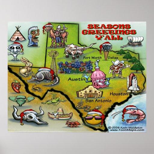 TEXAS Christmas Map Poster