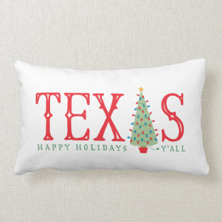 Texas Christmas Tree Happy Holidays Y'all Pillow