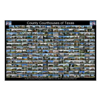 Texas County Courthouses Poster (black horizontal)