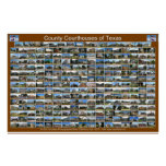 Texas County Courthouses Poster (brown horizontal)