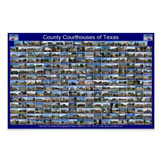 Texas Courthouses Poster (blue horizontal)