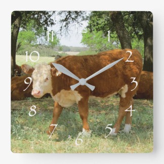 Texas Cow Landscape Square Wall Clock