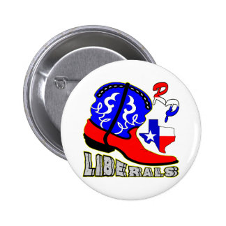 Texas Cowboy Boot Crushing Liberals 2 Inch Round Button