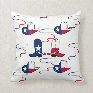 Texas Cowboy Boots And Hats on ANY COLOR Throw Pillow