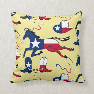 Texas Cowboy Boots Hats horse Ropes on ANY COLOR Throw Pillow