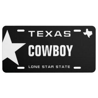 Texas Cowboy License Plate