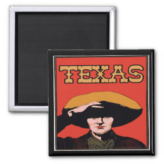 Texas Cowboy Square Magnet