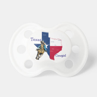 Texas Cowgirl On Horse With State Of Texas Rodeo Pacifier
