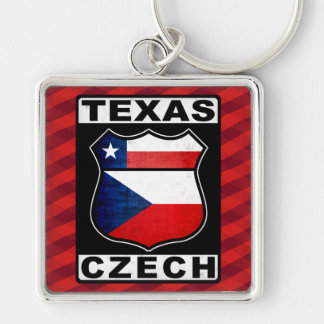Texas Czech American Keyring Silver-Colored Square Keychain