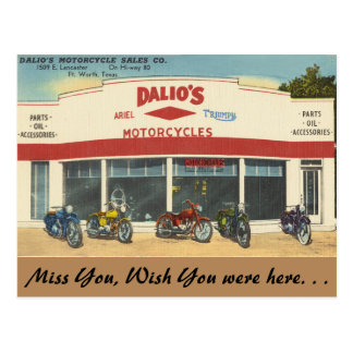 Texas, Dalio's Motorcycles, Fort Worth Postcard