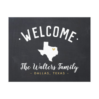 Texas Family Monogram Welcome Sign