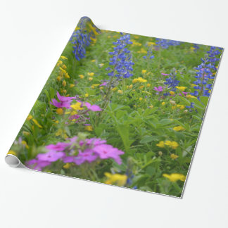 Texas field of wild flowers and bluebonnets. wrapping paper