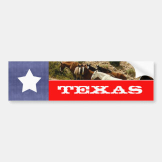 Texas Flag and Horses Bumper Sticker