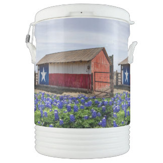 Texas Flag Barn and Bluebonnets Drinks Cooler