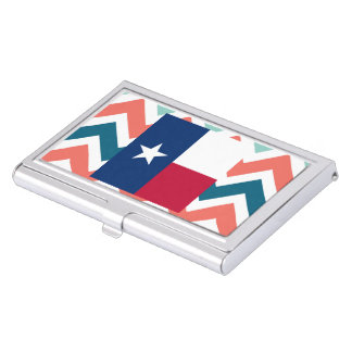 Texas Flag Box on Colorful Chevron Business Card Holder