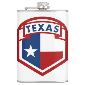 Texas Flag Coat of Arms Style Hip Flask