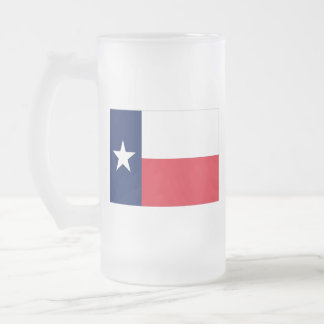 TEXAS FLAG FROSTED GLASS BEER MUG
