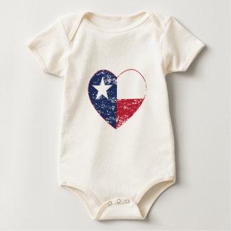 Texas Flag Heart Distressed Baby Bodysuit