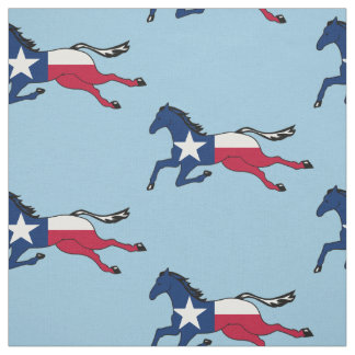 Texas Flag Horse Running on lt blue Fabric