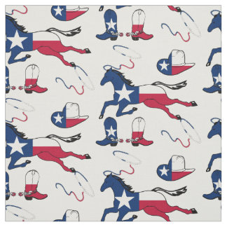 Texas Flag Horses Hats And Boots Fabric
