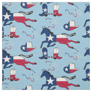 Texas Flag Horses Hats And Boots lt blue Fabric