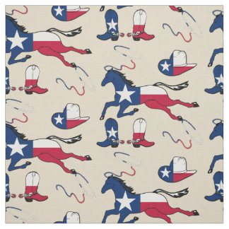 Texas Flag Horses Hats And Boots lt tan Fabric