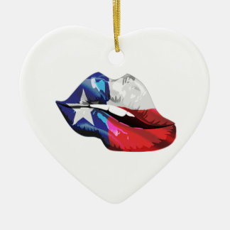 Texas Flag Lips Ceramic Ornament